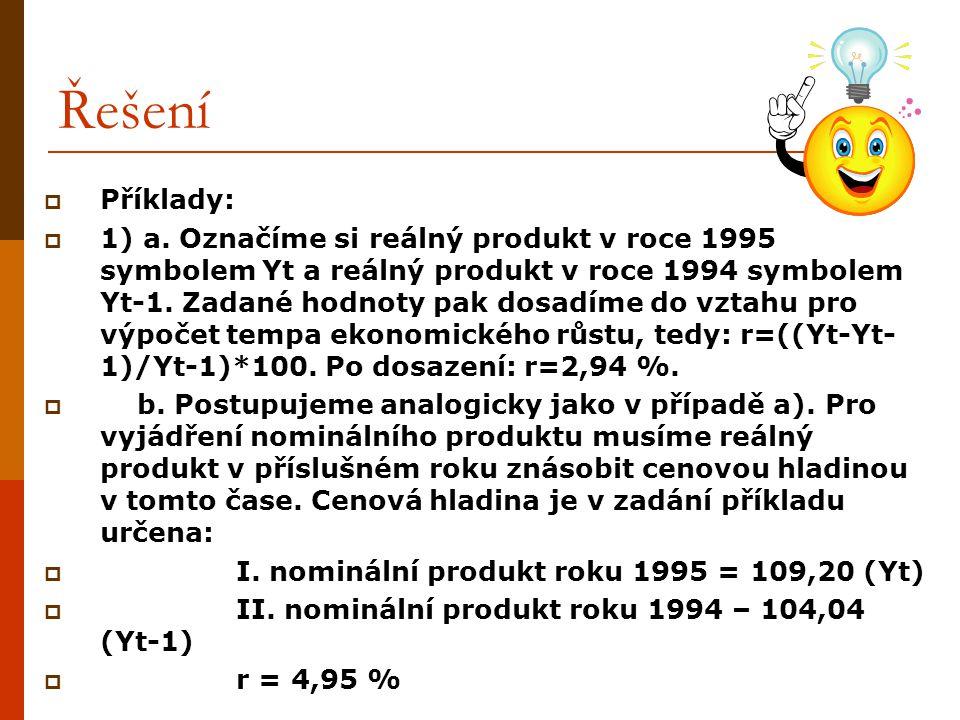 Řešení  Příklady:  1) a. Označíme si reálný produkt v roce 1995 symbolem Yt a reálný produkt v roce 1994 symbolem Yt-1. Zadané hodnoty pak dosadíme