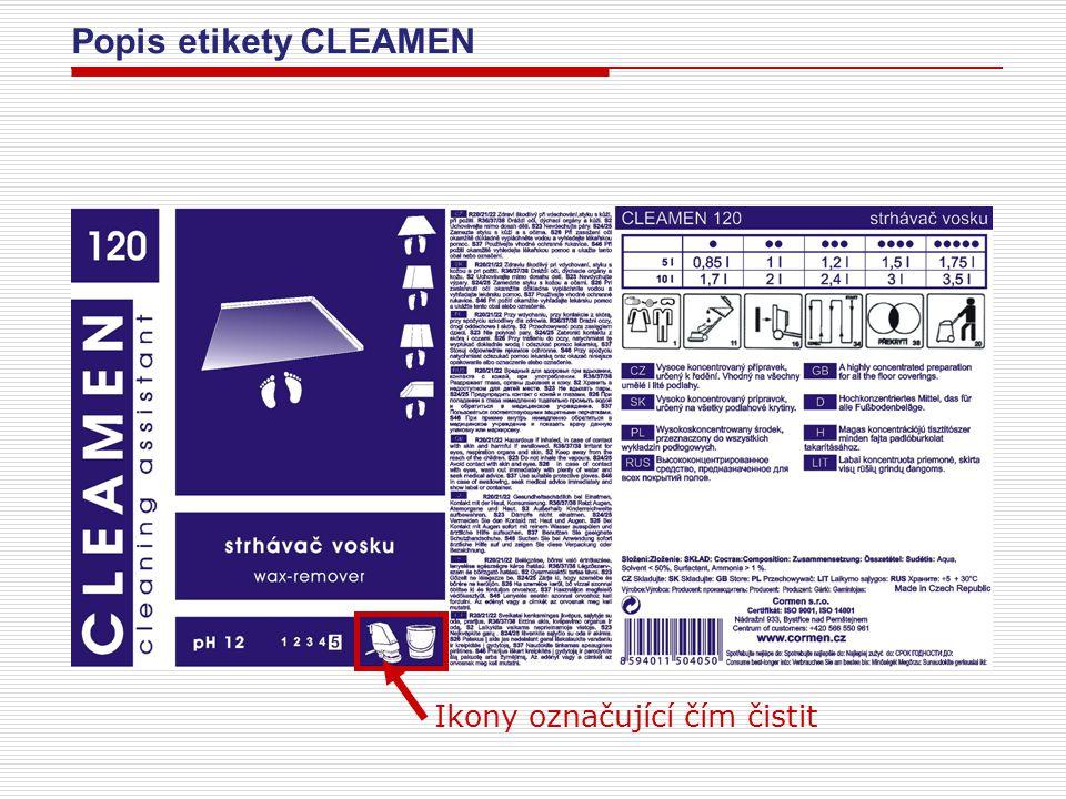 Popis etikety CLEAMEN Ikony označující čím čistit