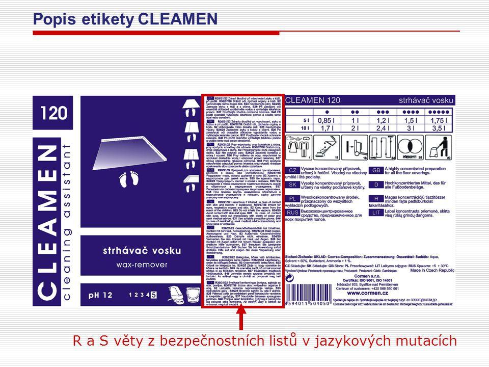 Popis etikety CLEAMEN R a S věty z bezpečnostních listů v jazykových mutacích