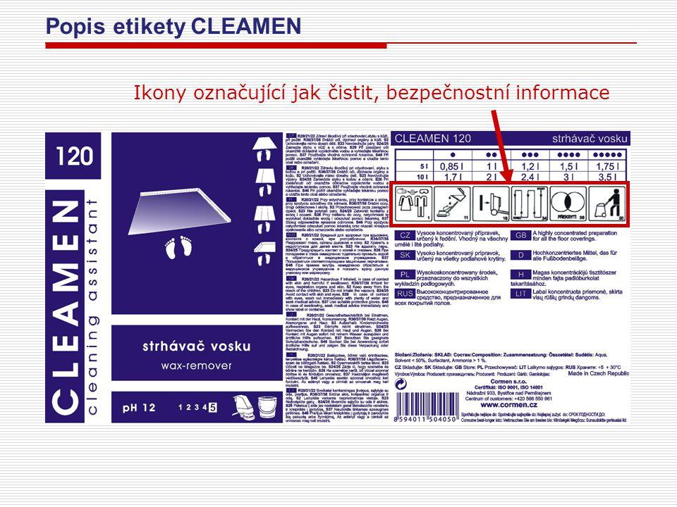 Popis etikety CLEAMEN Stručný popis produktu v jazykových mutacích