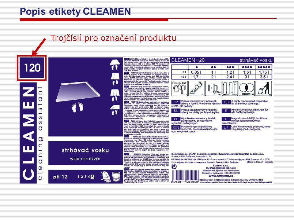 Popis etikety CLEAMEN Trojčíslí pro označení produktu