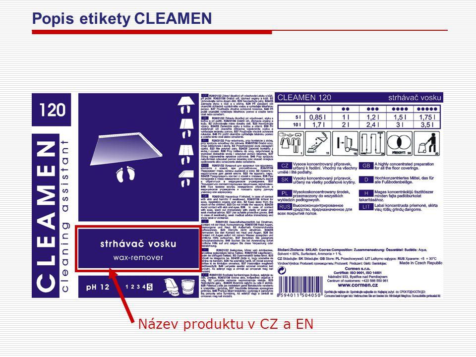 Popis etikety CLEAMEN PH produktu