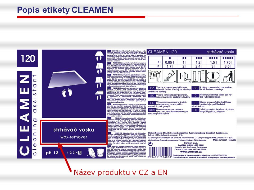 Popis etikety CLEAMEN Název produktu v CZ a EN