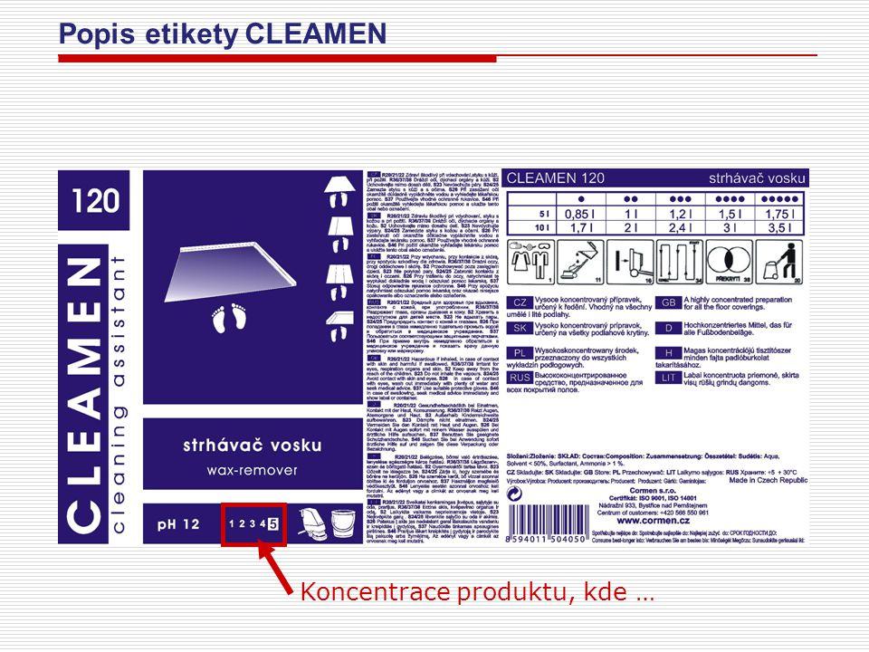 Popis etikety CLEAMEN Koncentrace produktu: 1 = naředěný produkt CLEAMEN určený k přímému použití 2 = koncentrace odpovídající cca výrobkům spotřební řady Krystal 3 = produkt určený k přímému použití bez ředění 4 = koncentrovaný produkt určen k ředění 5 = vysoce koncentrovaný produkt určen k ředění, koncentrace je v maximální možné míře např.