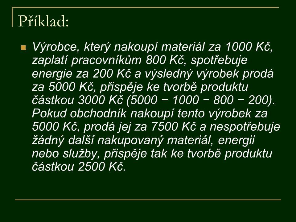 Příklad: Výrobce, který nakoupí materiál za 1000 Kč, zaplatí pracovníkům 800 Kč, spotřebuje energie za 200 Kč a výsledný výrobek prodá za 5000 Kč, přispěje ke tvorbě produktu částkou 3000 Kč (5000 − 1000 − 800 − 200).