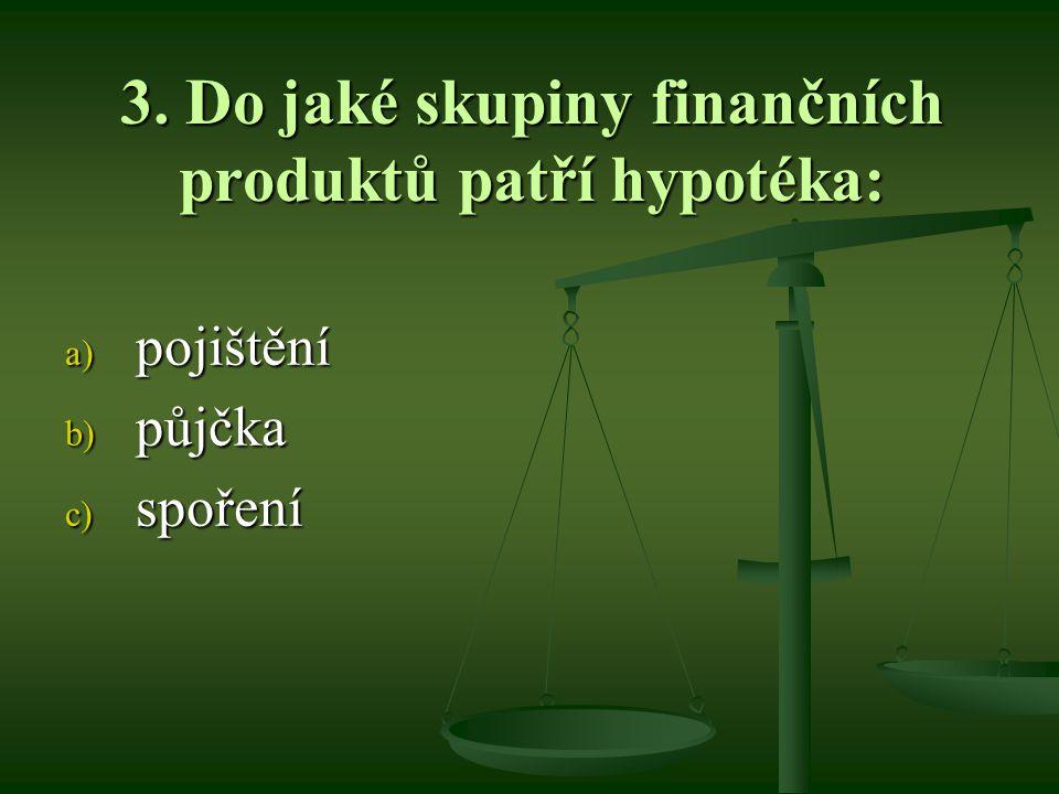 3. Do jaké skupiny finančních produktů patří hypotéka: a) pojištění b) půjčka c) spoření