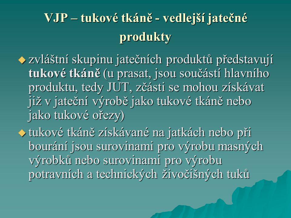 VJP – tukové tkáně - vedlejší jatečné produkty  zvláštní skupinu jatečních produktů představují tukové tkáně (u prasat, jsou součástí hlavního produk