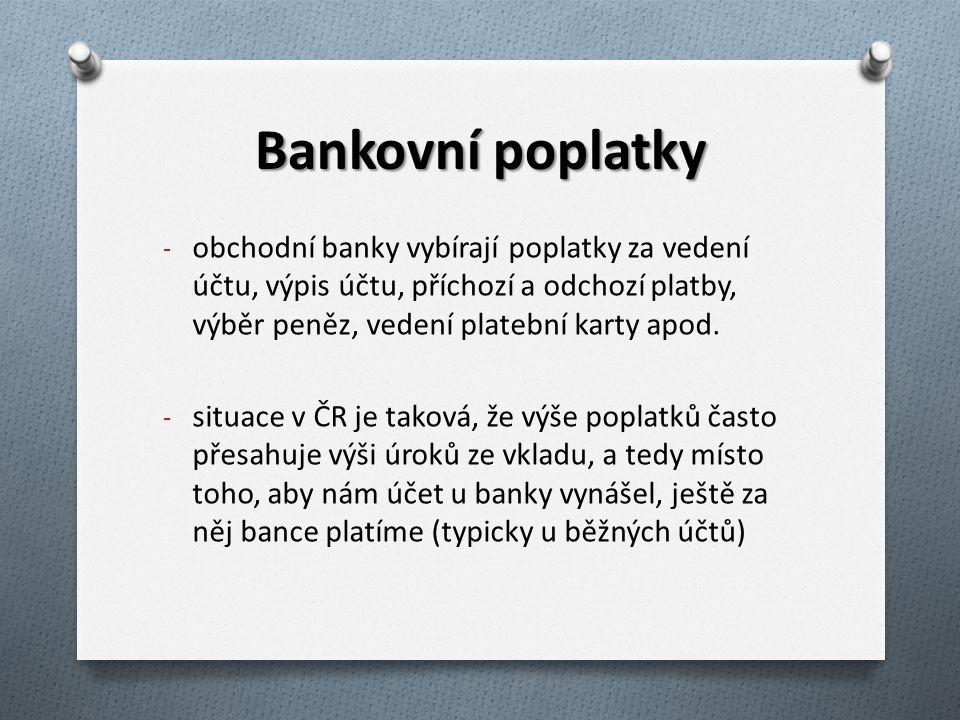 Bankovní poplatky - obchodní banky vybírají poplatky za vedení účtu, výpis účtu, příchozí a odchozí platby, výběr peněz, vedení platební karty apod. -
