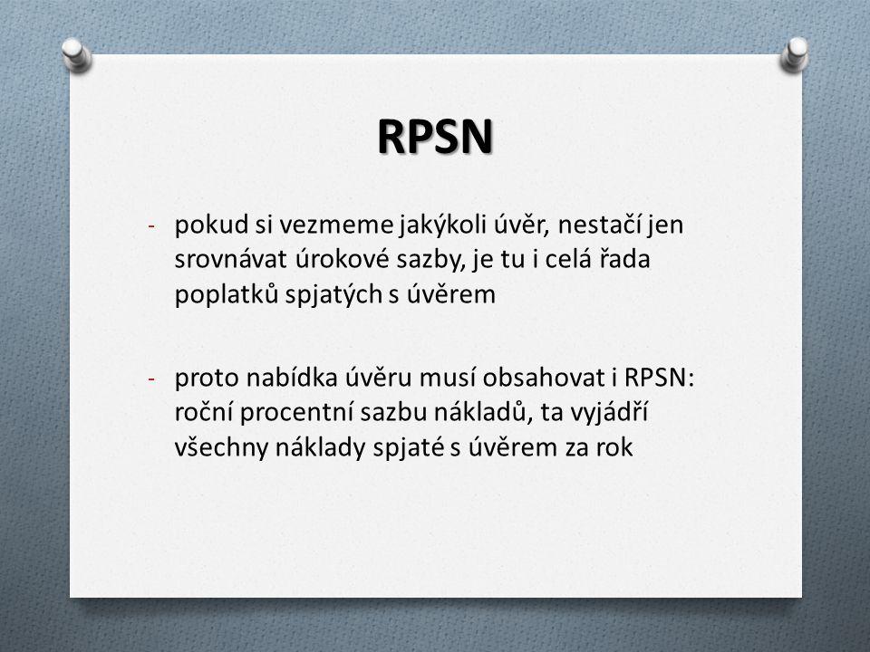 RPSN - pokud si vezmeme jakýkoli úvěr, nestačí jen srovnávat úrokové sazby, je tu i celá řada poplatků spjatých s úvěrem - proto nabídka úvěru musí ob