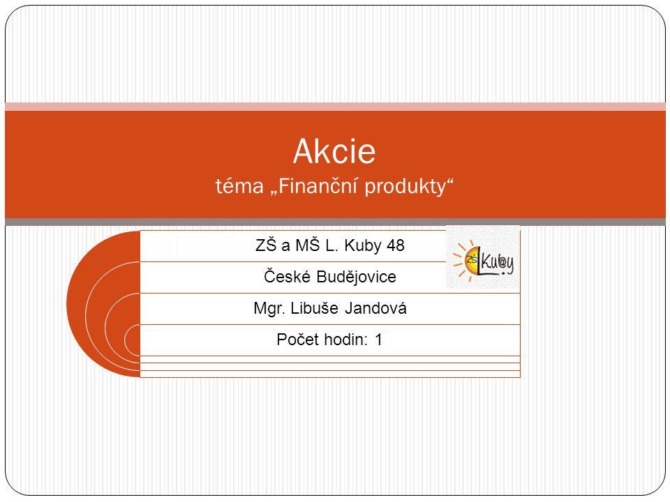 """Akcie téma """"Finanční produkty ZŠ a MŠ L.Kuby 48 České Budějovice Mgr."""