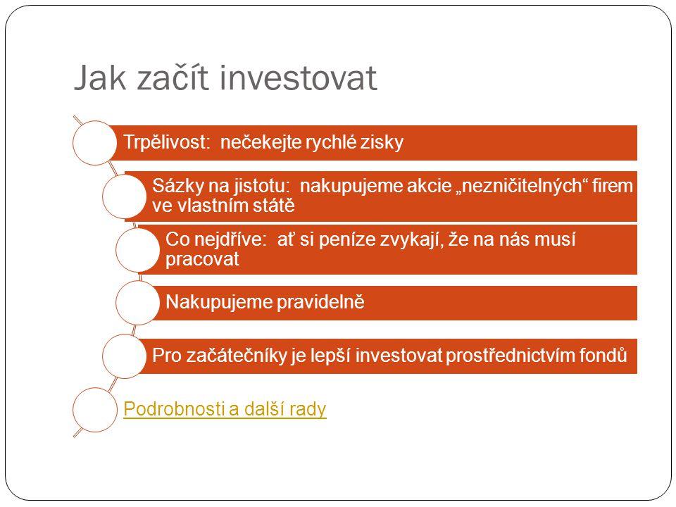 """Jak začít investovat Trpělivost: nečekejte rychlé zisky Sázky na jistotu: nakupujeme akcie """"nezničitelných firem ve vlastním státě Co nejdříve: ať si peníze zvykají, že na nás musí pracovat Nakupujeme pravidelně Pro začátečníky je lepší investovat prostřednictvím fondů Podrobnosti a další rady"""