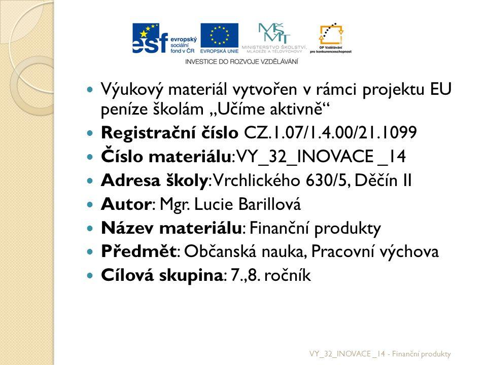 Použité zdroje http://citaty.superia.cz/citaty_o_penezich/voltaire.php http://citaty.ikrab.cz/index.php/penize/317-bez-penz Přispěvatelé Wikipedie, Kontokorent [online], Wikipedie: Otevřená encyklopedie, c2011, Datum poslední revize 11.