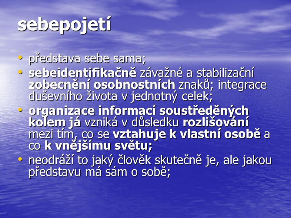 sebepojetí představa sebe sama; představa sebe sama; sebeidentifikačně závažné a stabilizační zobecnění osobnostních znaků; integrace duševního života