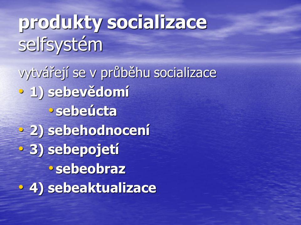 produkty socializace selfsystém vytvářejí se v průběhu socializace 1) sebevědomí 1) sebevědomí sebeúcta sebeúcta 2) sebehodnocení 2) sebehodnocení 3)