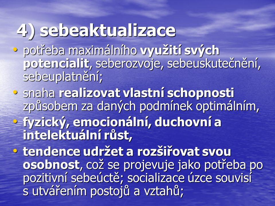 4) sebeaktualizace potřeba maximálního využití svých potencialit, seberozvoje, sebeuskutečnění, sebeuplatnění; potřeba maximálního využití svých poten