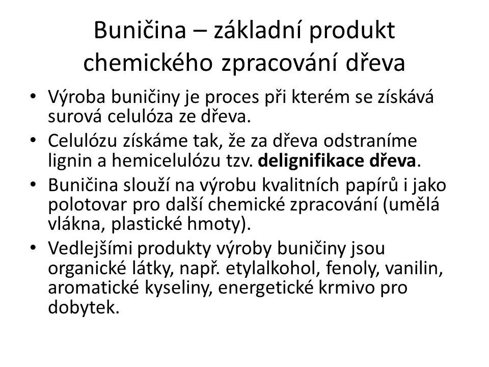 Buničina – základní produkt chemického zpracování dřeva Výroba buničiny je proces při kterém se získává surová celulóza ze dřeva. Celulózu získáme tak