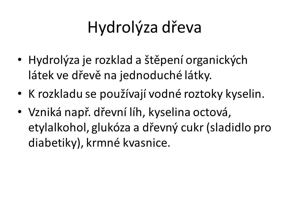 Hydrolýza dřeva Hydrolýza je rozklad a štěpení organických látek ve dřevě na jednoduché látky. K rozkladu se používají vodné roztoky kyselin. Vzniká n