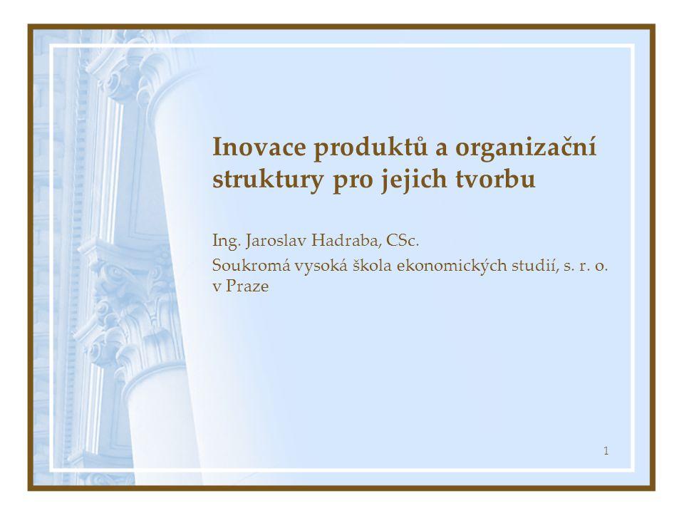 1 Inovace produktů a organizační struktury pro jejich tvorbu Ing.