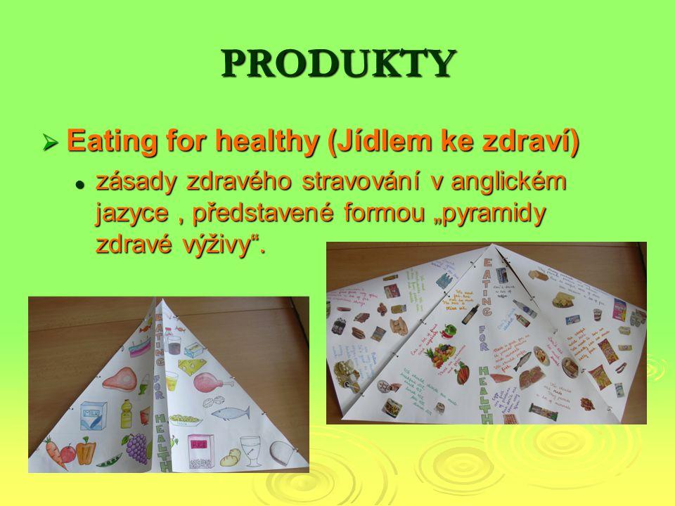 """PRODUKTY  Eating for healthy (Jídlem ke zdraví) zásady zdravého stravování v anglickém jazyce, představené formou """"pyramidy zdravé výživy ."""