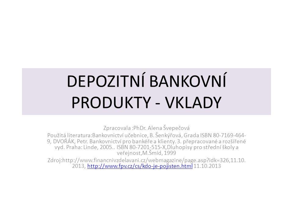 DEPOZITNÍ BANKOVNÍ PRODUKTY - VKLADY Zpracovala :PhDr.