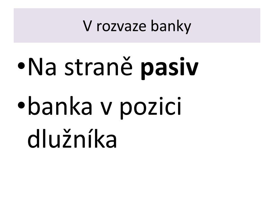 Depozita banky jsou VKLADY (Vklad je typ závazku, který vznikne uzavřením smlouvy o vkladu) - vklady na viděnou – běžné účty - termínové vklady - úsporné vklady (vkladní knížky)
