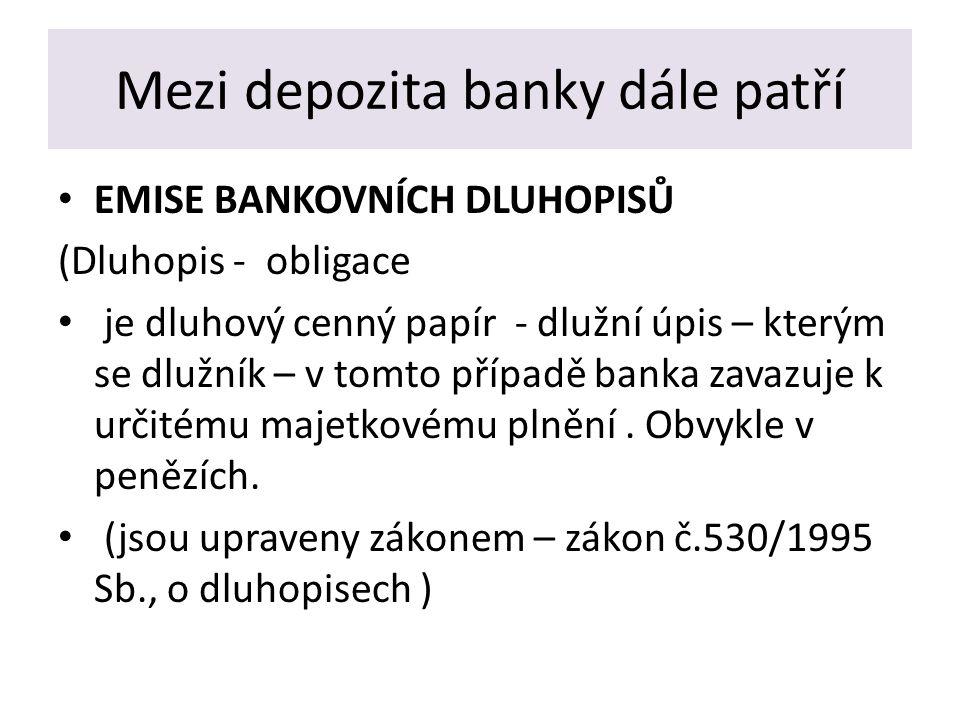 Mezi depozita banky dále patří EMISE BANKOVNÍCH DLUHOPISŮ (Dluhopis - obligace je dluhový cenný papír - dlužní úpis – kterým se dlužník – v tomto případě banka zavazuje k určitému majetkovému plnění.