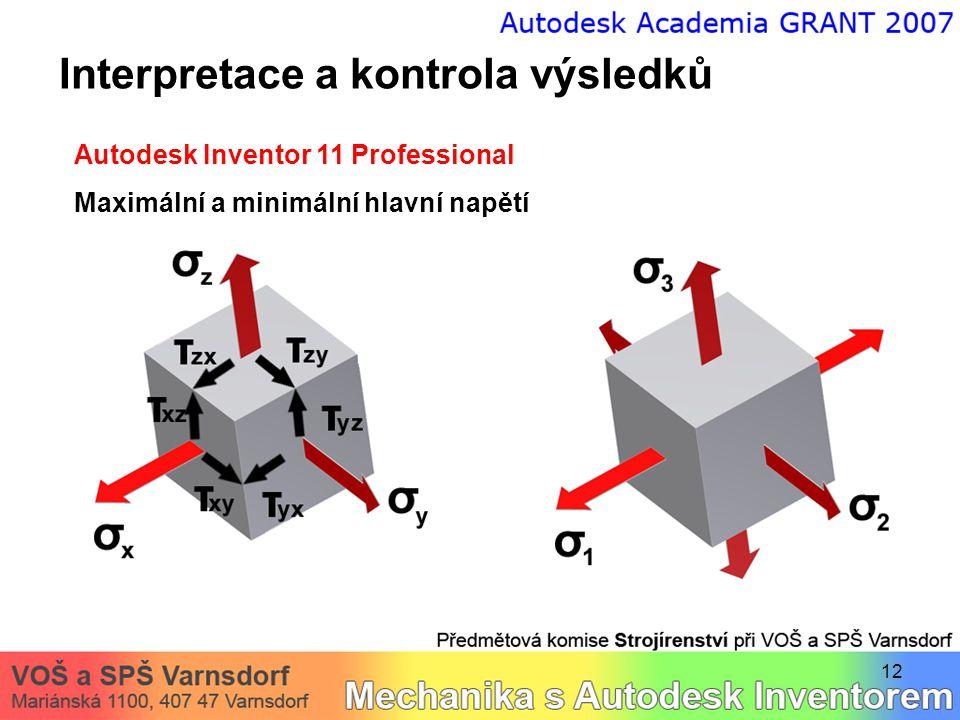 12 Interpretace a kontrola výsledků Autodesk Inventor 11 Professional Maximální a minimální hlavní napětí
