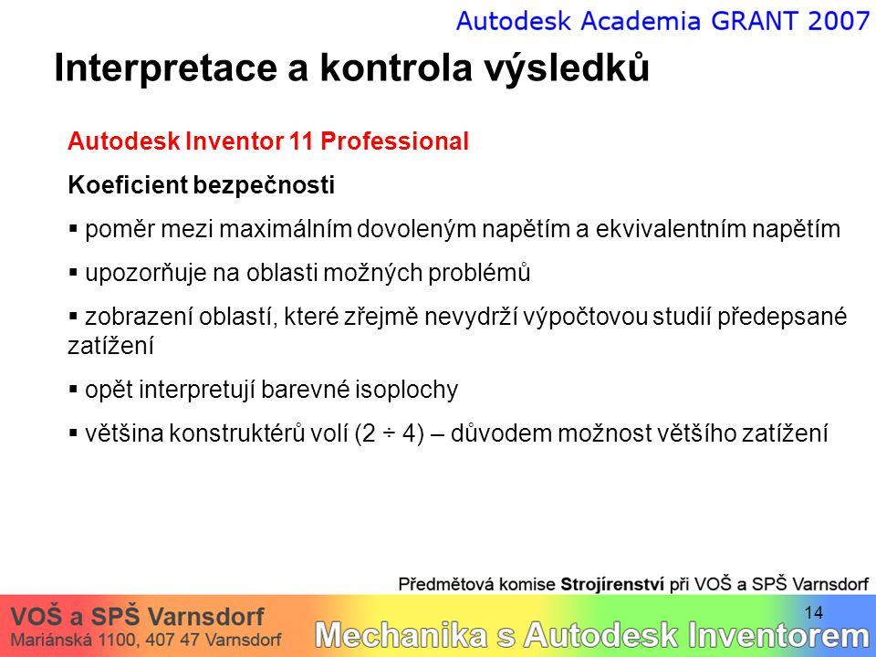 14 Interpretace a kontrola výsledků Autodesk Inventor 11 Professional Koeficient bezpečnosti  poměr mezi maximálním dovoleným napětím a ekvivalentním