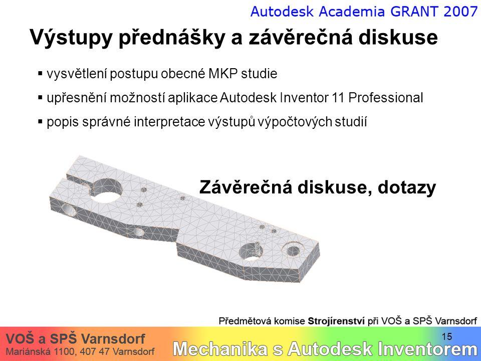 15 Výstupy přednášky a závěrečná diskuse  vysvětlení postupu obecné MKP studie  upřesnění možností aplikace Autodesk Inventor 11 Professional  popi