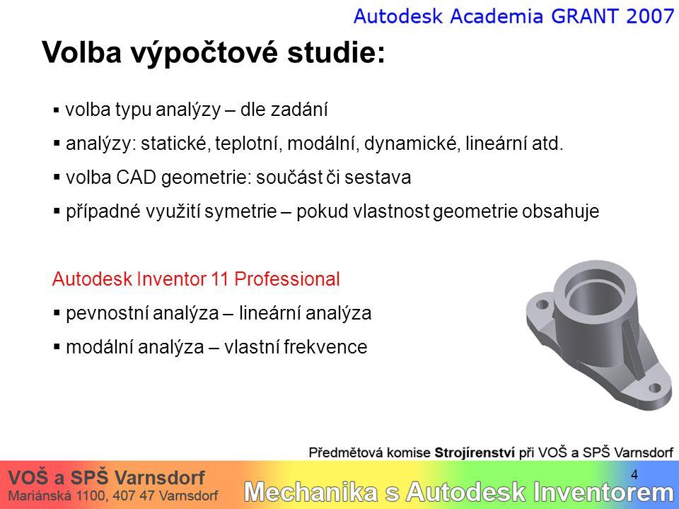 4 Volba výpočtové studie:  volba typu analýzy – dle zadání  analýzy: statické, teplotní, modální, dynamické, lineární atd.  volba CAD geometrie: so