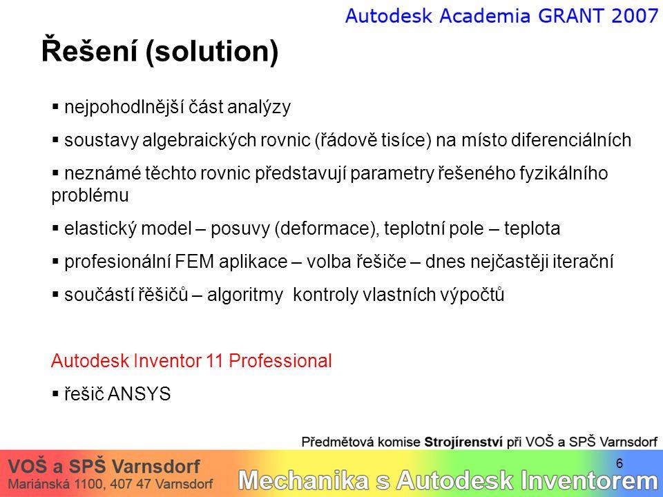 6 Řešení (solution)  nejpohodlnější část analýzy  soustavy algebraických rovnic (řádově tisíce) na místo diferenciálních  neznámé těchto rovnic pře