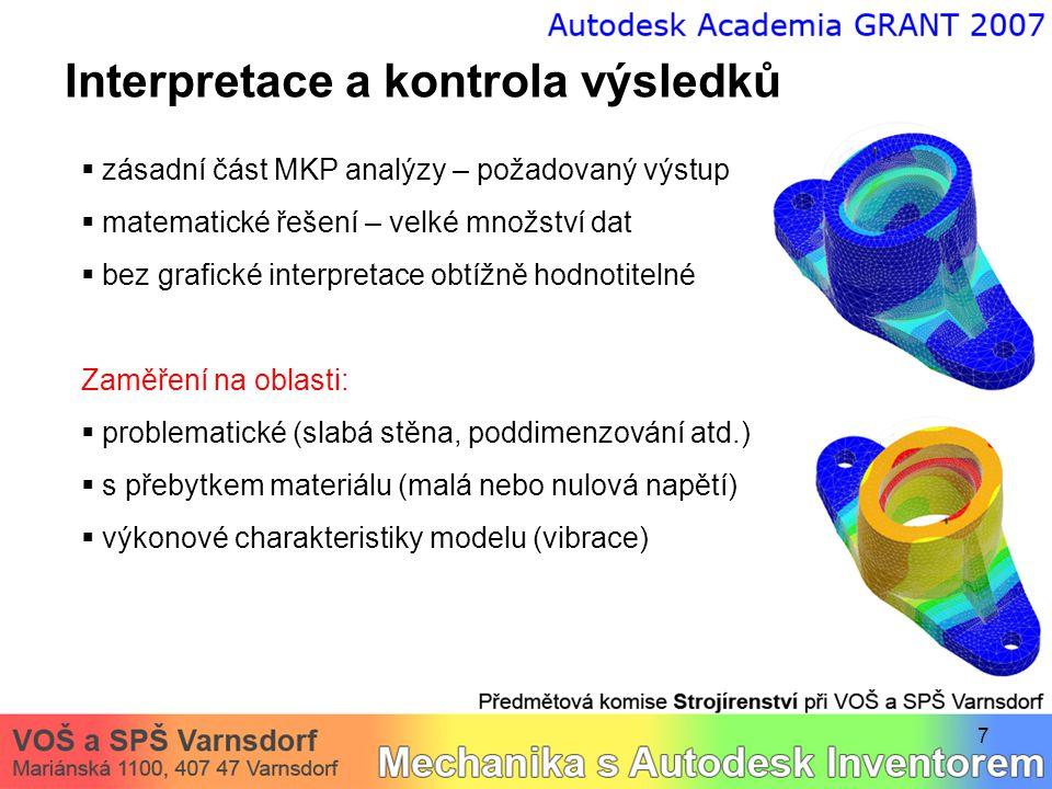 7 Interpretace a kontrola výsledků  zásadní část MKP analýzy – požadovaný výstup  matematické řešení – velké množství dat  bez grafické interpretac