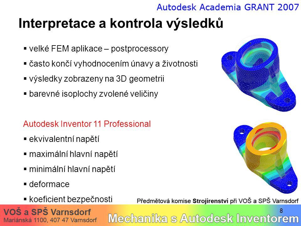 8 Interpretace a kontrola výsledků  velké FEM aplikace – postprocessory  často končí vyhodnocením únavy a životnosti  výsledky zobrazeny na 3D geom