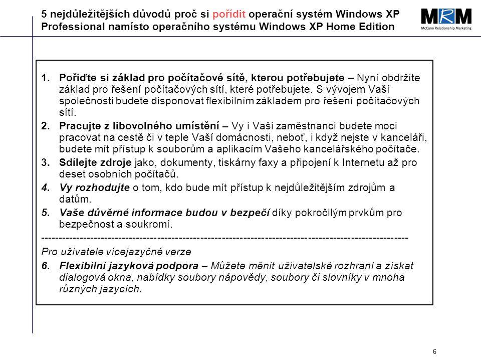 6 5 nejdůležitějších důvodů proč si pořídit operační systém Windows XP Professional namísto operačního systému Windows XP Home Edition 1.Pořiďte si základ pro počítačové sítě, kterou potřebujete – Nyní obdržíte základ pro řešení počítačových sítí, které potřebujete.