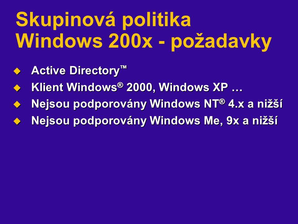 Skupinová politika Windows 200x - požadavky  Active Directory ™  Klient Windows ® 2000, Windows XP …  Nejsou podporovány Windows NT ® 4.x a nižší  Nejsou podporovány Windows Me, 9x a nižší