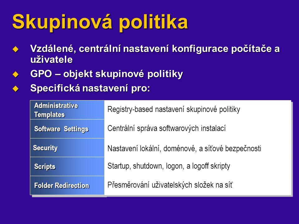 Skupinová politika  Vzdálené, centrální nastavení konfigurace počítače a uživatele  GPO – objekt skupinové politiky  Specifická nastavení pro: Admi