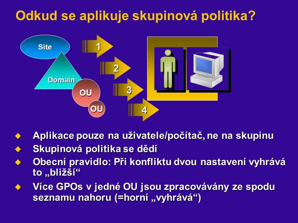Site Domain OU 2 3 1 Odkud se aplikuje skupinová politika?  Aplikace pouze na uživatele/počítač, ne na skupinu  Skupinová politika se dědí  Obecní