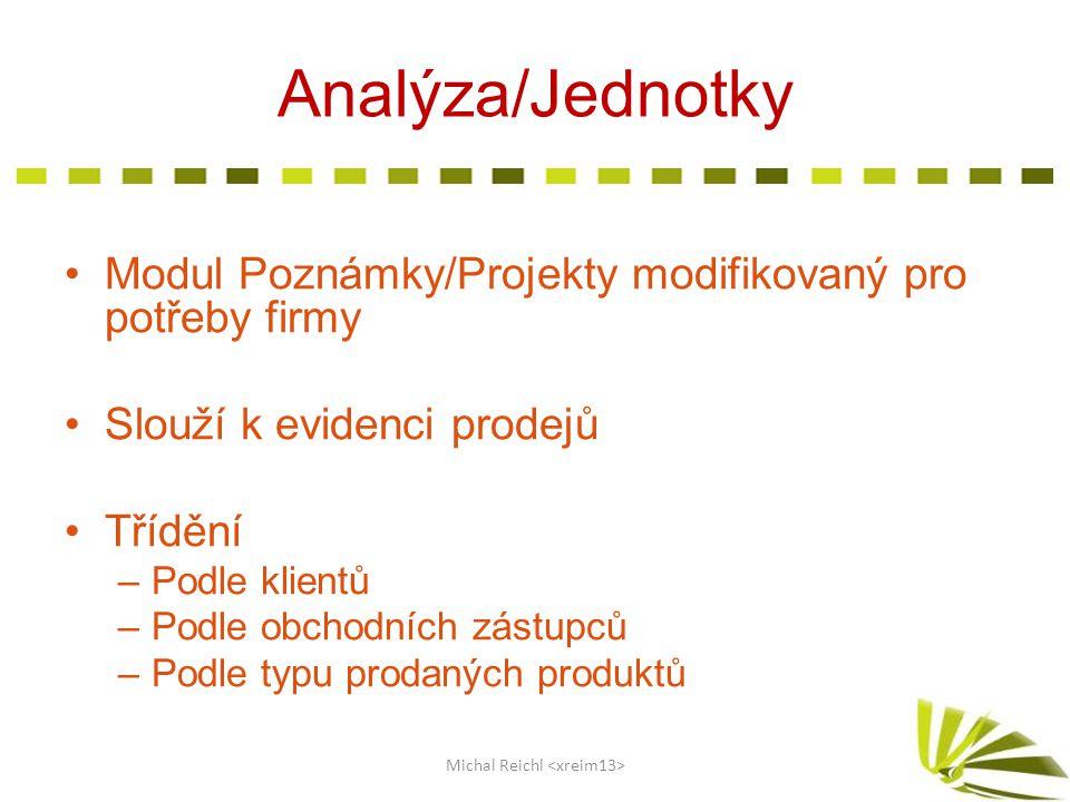 Analýza/Jednotky Modul Poznámky/Projekty modifikovaný pro potřeby firmy Slouží k evidenci prodejů Třídění –Podle klientů –Podle obchodních zástupců –P