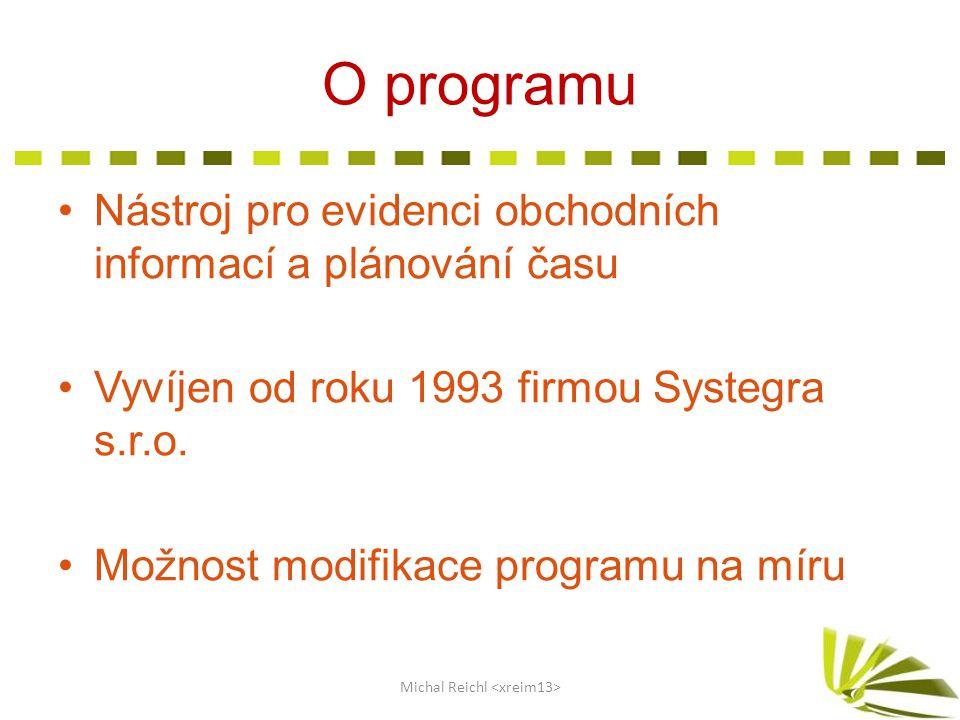 O programu Nástroj pro evidenci obchodních informací a plánování času Vyvíjen od roku 1993 firmou Systegra s.r.o. Možnost modifikace programu na míru