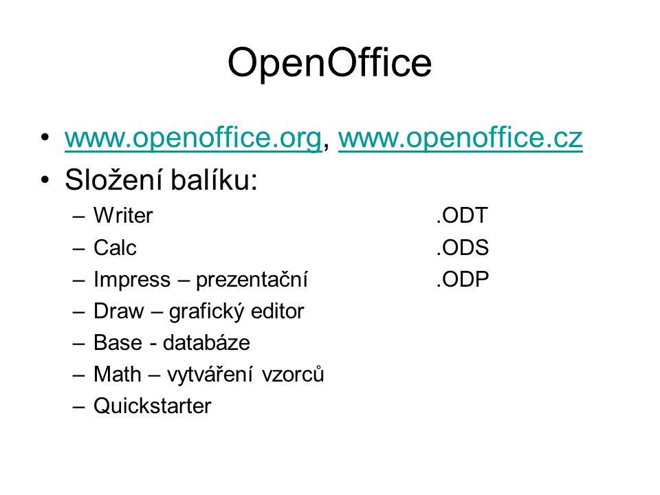 OpenOffice www.openoffice.org, www.openoffice.czwww.openoffice.orgwww.openoffice.cz Složení balíku: –Writer.ODT –Calc.ODS –Impress – prezentační.ODP –