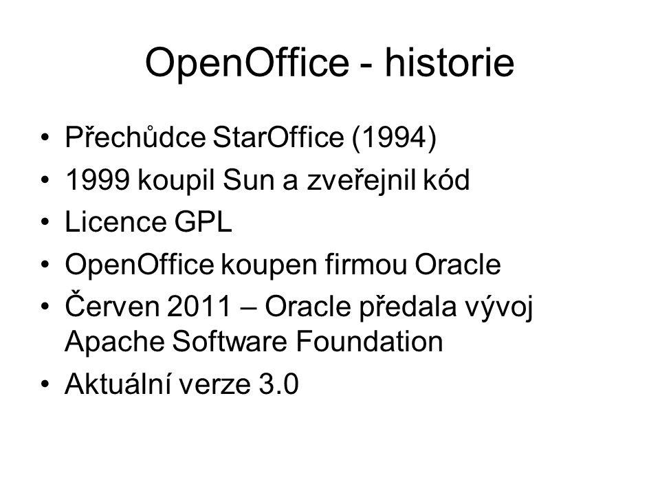 OpenOffice - historie Přechůdce StarOffice (1994) 1999 koupil Sun a zveřejnil kód Licence GPL OpenOffice koupen firmou Oracle Červen 2011 – Oracle pře
