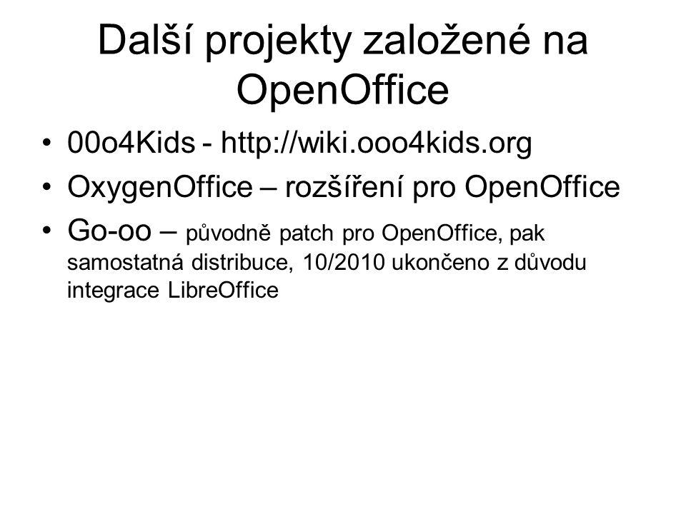 Další projekty založené na OpenOffice 00o4Kids - http://wiki.ooo4kids.org OxygenOffice – rozšíření pro OpenOffice Go-oo – původně patch pro OpenOffice