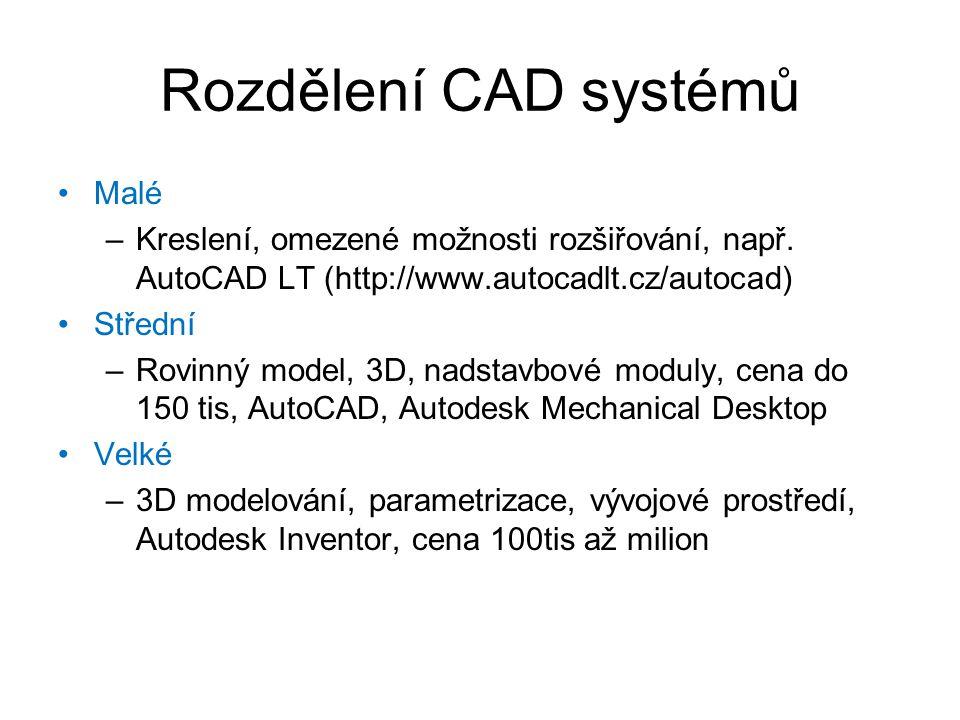 Rozdělení CAD systémů Malé –Kreslení, omezené možnosti rozšiřování, např. AutoCAD LT (http://www.autocadlt.cz/autocad) Střední –Rovinný model, 3D, nad