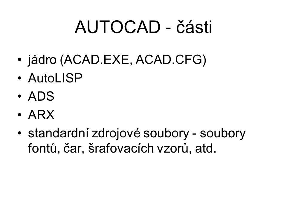 AUTOCAD - části jádro (ACAD.EXE, ACAD.CFG) AutoLISP ADS ARX standardní zdrojové soubory - soubory fontů, čar, šrafovacích vzorů, atd.