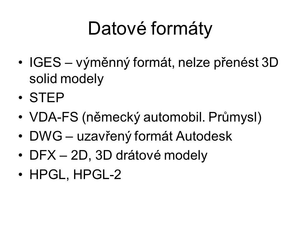 Datové formáty IGES – výměnný formát, nelze přenést 3D solid modely STEP VDA-FS (německý automobil. Průmysl) DWG – uzavřený formát Autodesk DFX – 2D,