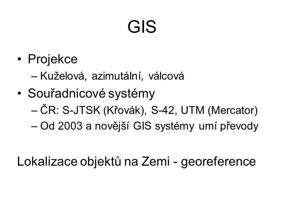 GIS Projekce –Kuželová, azimutální, válcová Souřadnicové systémy –ČR: S-JTSK (Křovák), S-42, UTM (Mercator) –Od 2003 a novější GIS systémy umí převody
