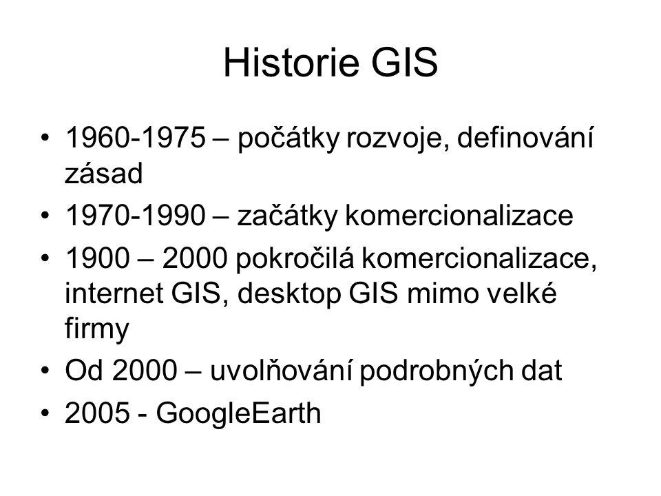 Historie GIS 1960-1975 – počátky rozvoje, definování zásad 1970-1990 – začátky komercionalizace 1900 – 2000 pokročilá komercionalizace, internet GIS,