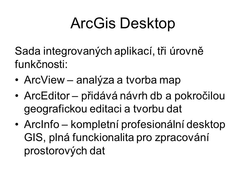 ArcGis Desktop Sada integrovaných aplikací, tři úrovně funkčnosti: ArcView – analýza a tvorba map ArcEditor – přidává návrh db a pokročilou geografick