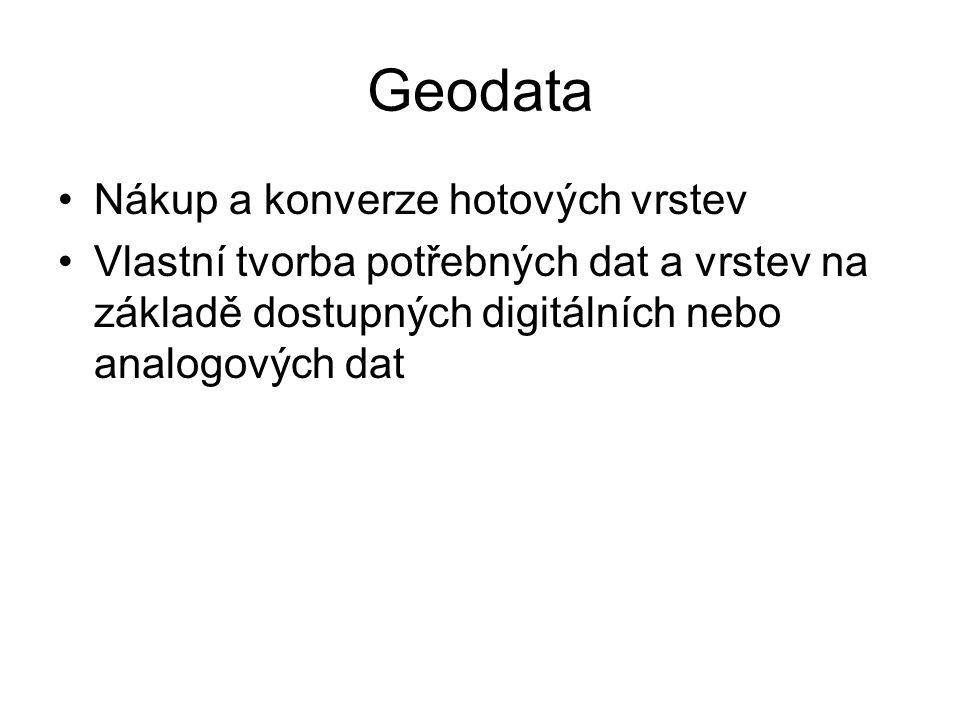 Geodata Nákup a konverze hotových vrstev Vlastní tvorba potřebných dat a vrstev na základě dostupných digitálních nebo analogových dat