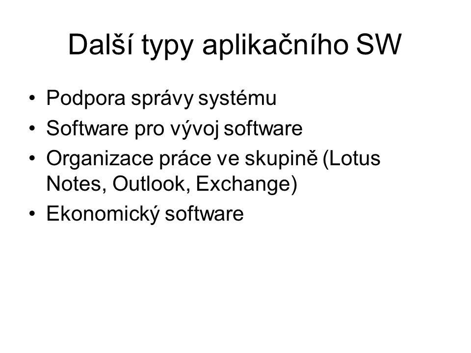Další typy aplikačního SW Podpora správy systému Software pro vývoj software Organizace práce ve skupině (Lotus Notes, Outlook, Exchange) Ekonomický s